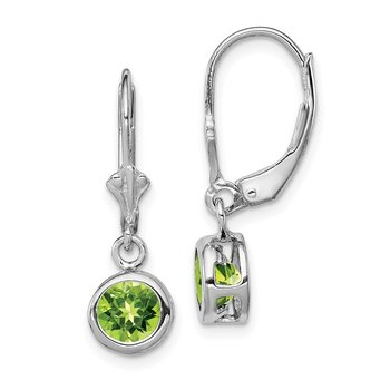 Sterling Silver Rhodium 6mm Round Peridot Leverback Earrings
