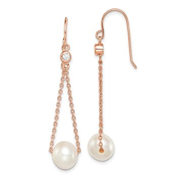 Sterling Silver Rose-tone 18k Flash-pl 8-9mm FWC Pearl CZ Dangle Earrings
