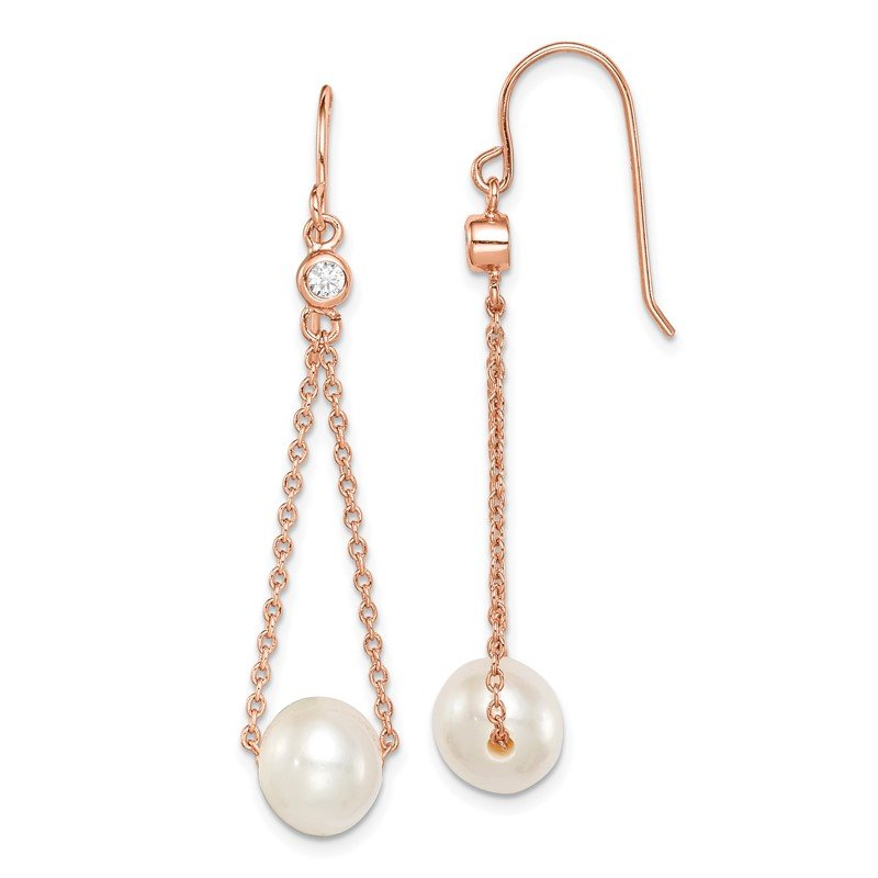 Quality Gold Sterling Silver Rose-tone 18k Flash-pl 8-9mm FWC Pearl CZ Dangle Earrings