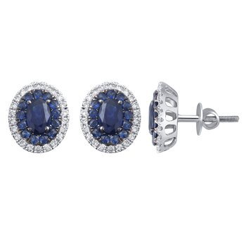 14K 0.35 Ct Diamond & Sapphire Earrings