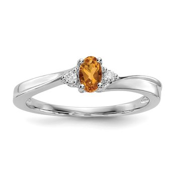 Sterling Silver Rhodium-plated Citrine Birthstone Ring