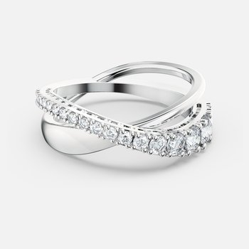 Twist Rows Ring, White, Rhodium plated