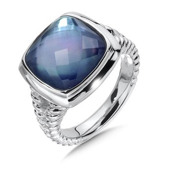 Sterling Silver Quartz & Dyed Blue Mother of Pearl Fusion Ring