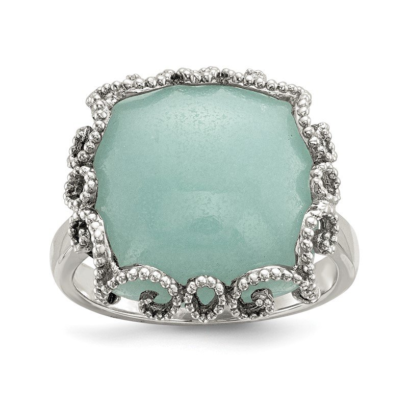 Quality Gold Sterling Silver w/ Created Amazonite Polished and Textured Ring