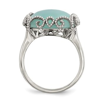 Sterling Silver w/ Created Amazonite Polished and Textured Ring