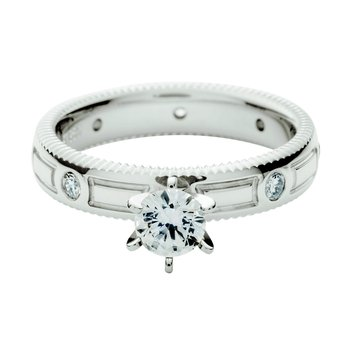 Quoin edge embossed solitaire with diamonds