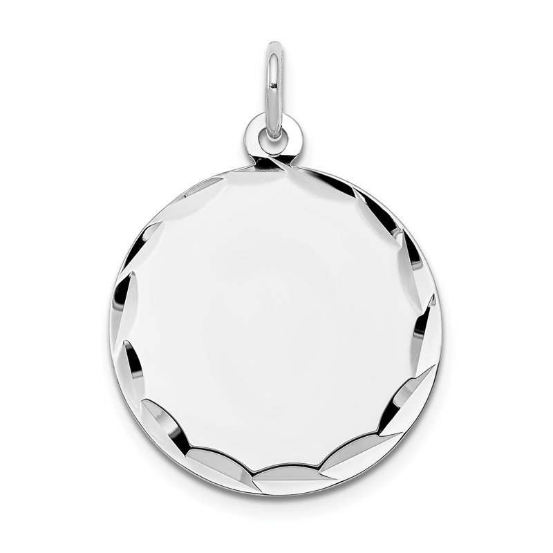 Quality Gold 14k White Gold Etched .018 Gauge Engraveable Round Disc Charm