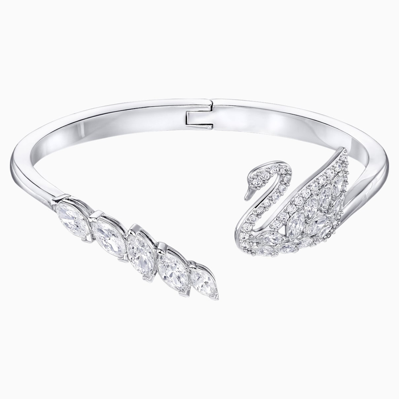 Swarovski Swan Lake Bangle, White, Rhodium plated