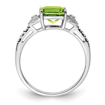 Sterling Silver Rhodium Plated Diamond and Peridot Ring