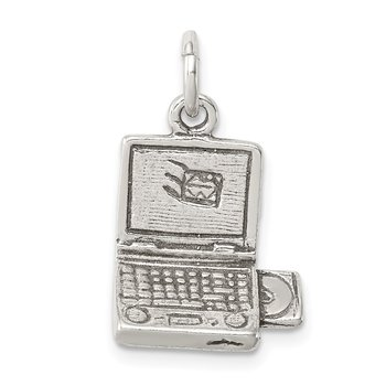 Sterling Silver Antiqued Laptop Charm