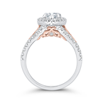Carizza 14K Two-Tone Gold Marquise Diamond Halo Engagement Ring with Split Shank (Semi-Mount)