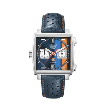 "Monaco Automatic Chronograph Watch In Stainless Steel. The 39 mm Watch Has The ""Gulf"" Dark Blue, Light Blue And Orange Racing Stripe Dial, Crown At 9 O'Clock And A Blue Leather Strap With Orange Stitching On A Folding Clasp. Model CAW211R."