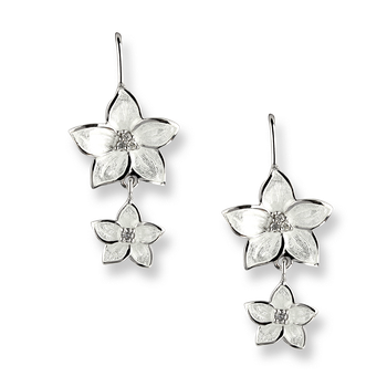 Sterling Silver Stephanotis Floral Wire Earrings-White. Diamond.