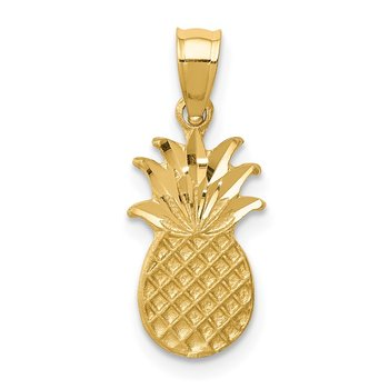 14K Brushed & Diamond-cut Pineapple Pendant