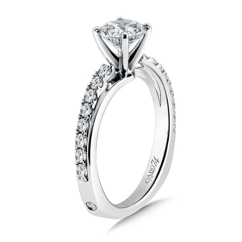 Caro74 Classic Elegance Collection Diamond Criss Cross Engagement Ring in 14K White Gold with Platinum Head (1ct. tw.)