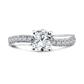 Classic Elegance Collection Diamond Criss Cross Engagement Ring in 14K White Gold with Platinum Head (1ct. tw.)