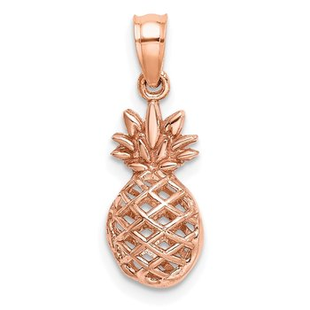 14K Rose Polished 3D Pineapple Pendant