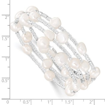 7-8mm White Baroque FWC Pearl & Glass Beaded Wrap Bracelet
