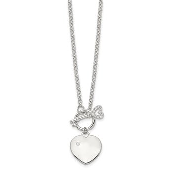 Sterling Silver Polished CZ Heart w/Key Necklace
