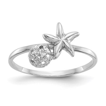 14k White Gold Polished Starfish & Sand Dollar Ring