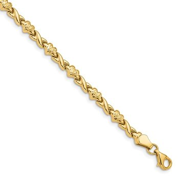 14k Polished D/C Heart 7in Bracelet