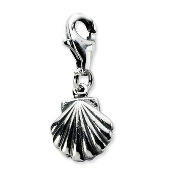 Sterling Silver Amore La Vita Rhodium-plated Antiqued Clam Shell Charm