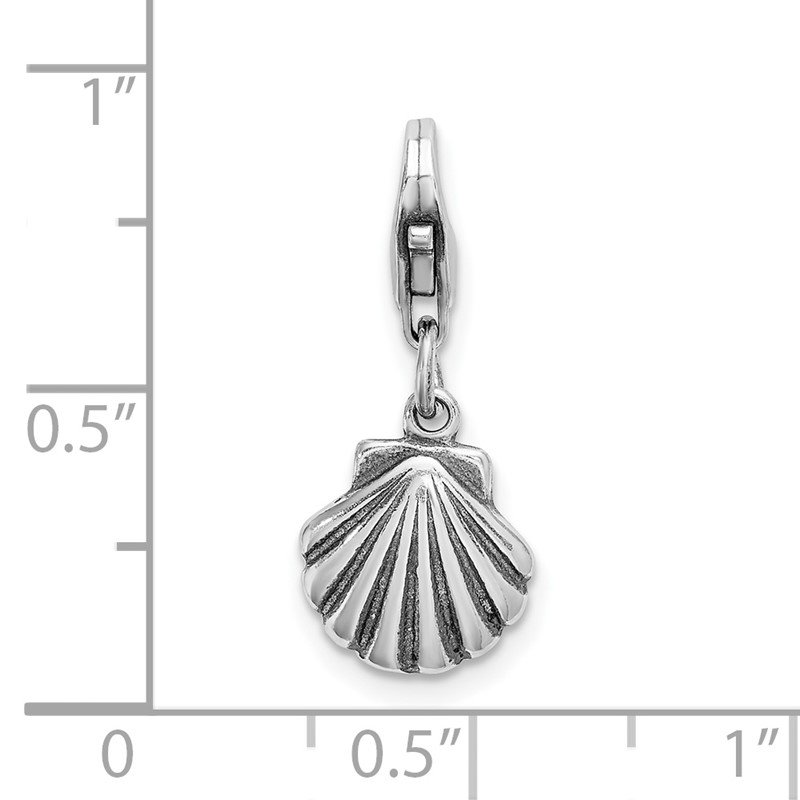 Quality Gold Sterling Silver Amore La Vita Rhodium-plated Antiqued Clam Shell Charm