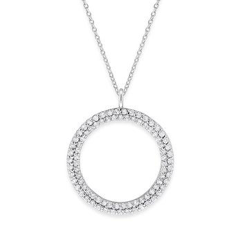 Diamond Double Row Circle Necklace in 14K White Gold with 86 Diamonds Weighing .86ct tw.