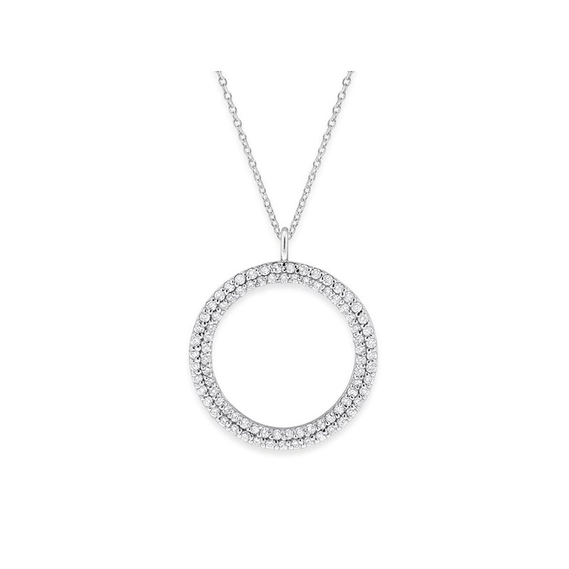 KC Designs Diamond Double Row Circle Necklace in 14K White Gold with 86 Diamonds Weighing .86ct tw.