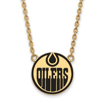 Gold-Plated Sterling Silver Edmonton Oilers NHL Necklace