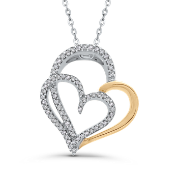 Round 1/4 ct Diamond Double Heart Pendant with Chain