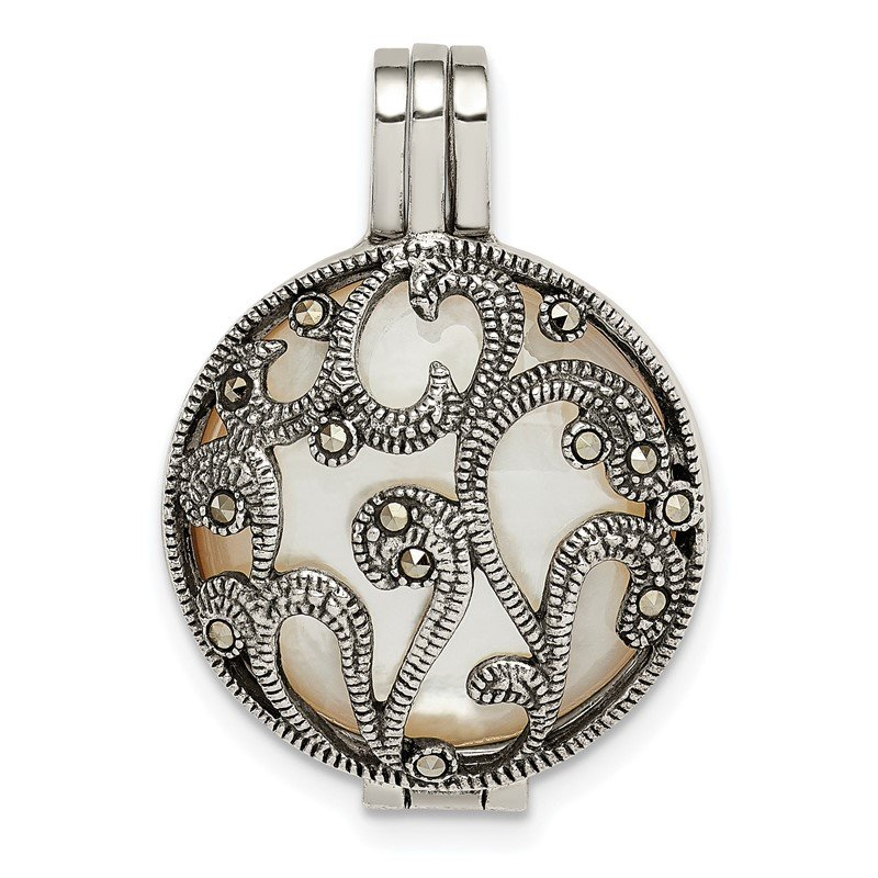 Quality Gold Sterling Silver Antiqued Marcasite & Removeable Mother of Pearl Pendant