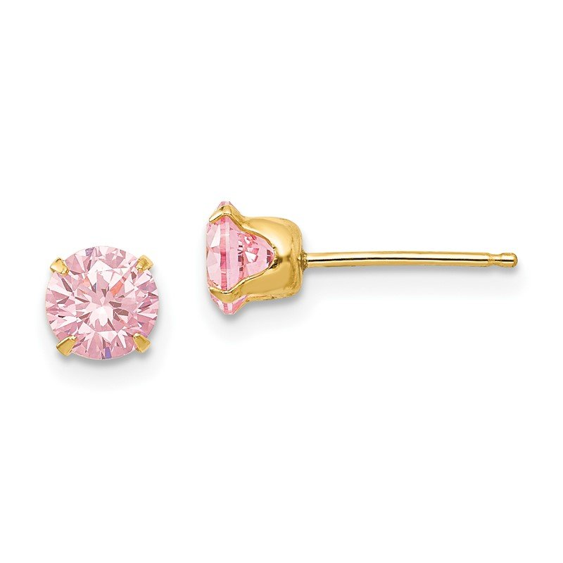 Quality Gold 14k Madi K 5mm Pink CZ Post Earrings