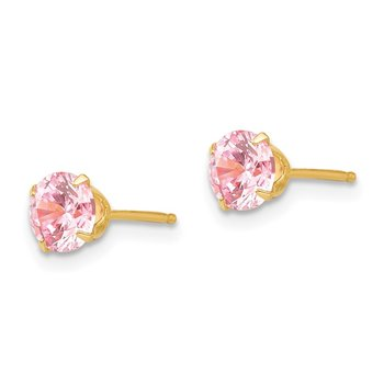 14k Madi K 5mm Pink CZ Post Earrings