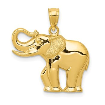 14k Polished / Satin Elephant Pendant