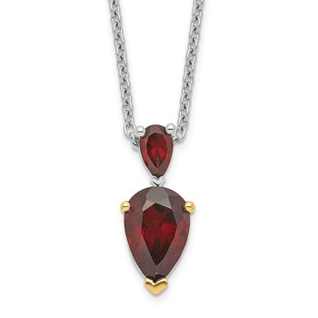 SS & 14k True Two-tone Accent Garnet Necklace