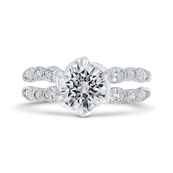 18K White Gold Bezel Set Round Diamond Split Shank Engagement Ring with Milgrain (Semi-Mount)