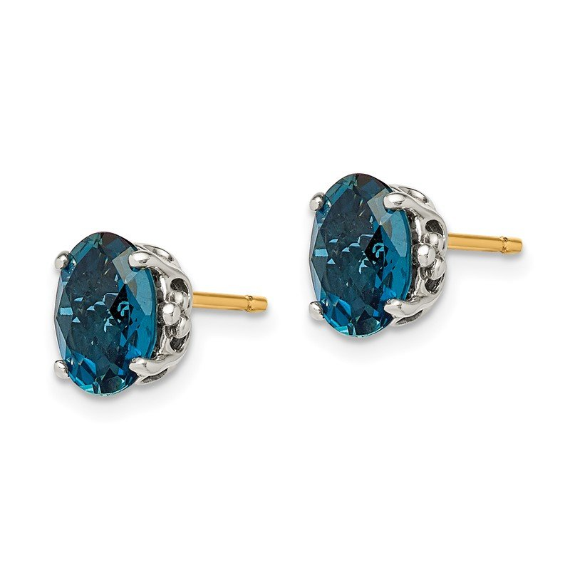 Quality Gold Sterling Silver w/14k London Blue Topaz Post Earrings