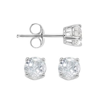Four Prong White Topaz Studs in 14K White Gold (4 MM)