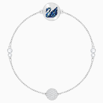 Swarovski Remix Collection Swan Strand, Blue, Rhodium plated