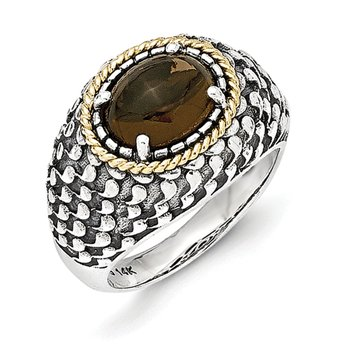 Sterling Silver w/14k Antiqued Smoky Quartz Ring