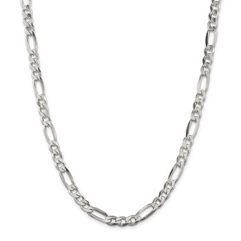 Sterling Silver Rhodium-plated 6.5mm Figaro Chain