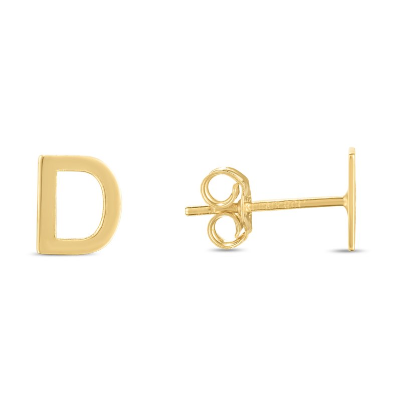 Royal Chain 14K Gold Initial D Stud Earring