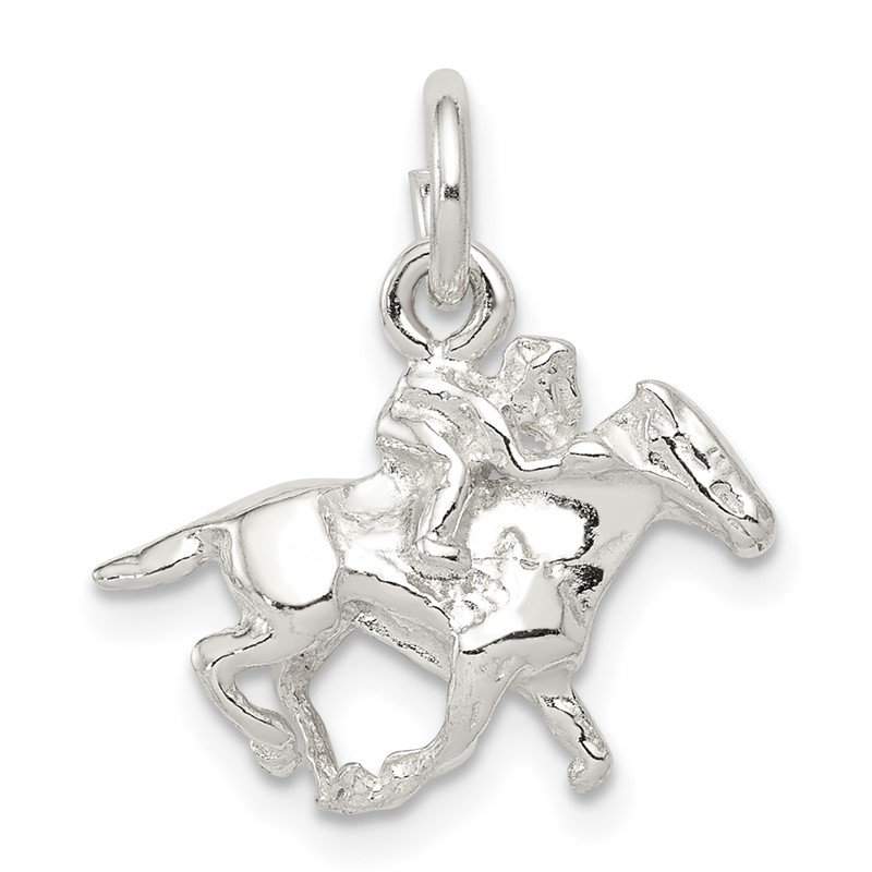 Quality Gold Sterling Silver Horse w/Rider Charm