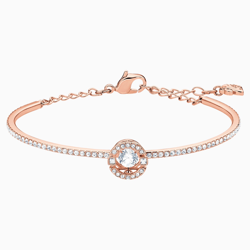 Swarovski Swarovski Sparkling Dance Bangle, White, Rose-gold tone plated