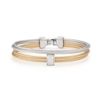 Grey & Yellow Cable Small 2 Row Simple Stack Bracelet with 18kt White Gold & Diamonds