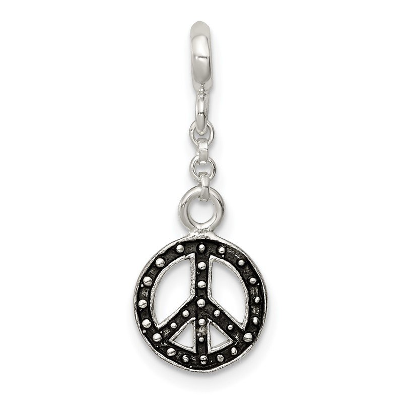 Sterling Silver Enameled Peace Symbol 1/2in Dangle Enhancer