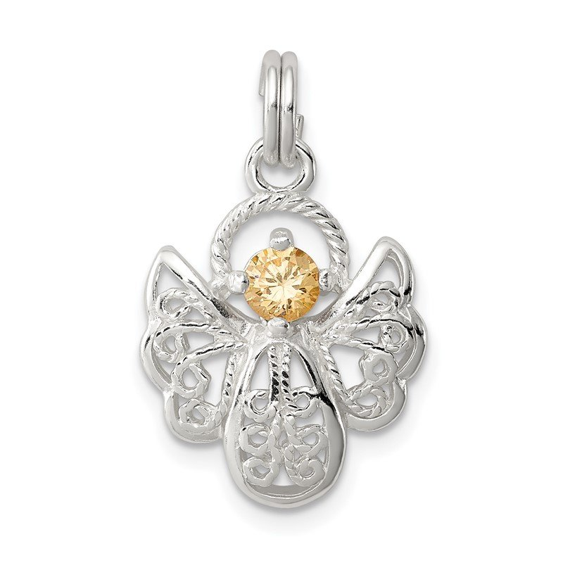 Quality Gold Sterling Silver Orange CZ Angel Charm