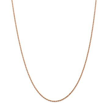 14k Rose Gold 1.5mm D/C Machine-made Rope Chain Anklet