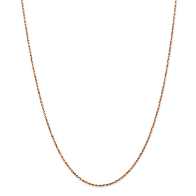 Quality Gold 14k Rose Gold 1.5mm D/C Machine-made Rope Chain Anklet
